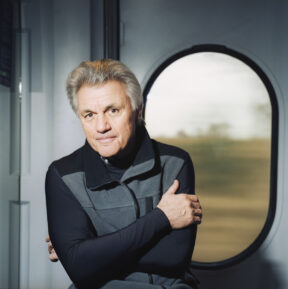 "John Irving, Author, Train. For ""Brigitte Magazine"""